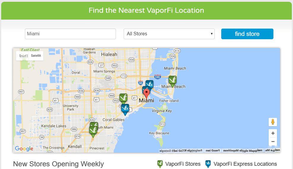 Vaporfi Store finder