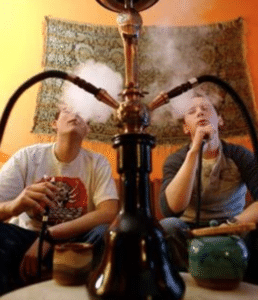 front view of hookah being used